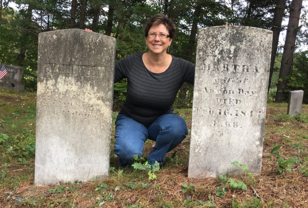 October 2015, visiting my 4th great grandparents, Aaron and Martha (Tibbetts) Day at the Upper Ferry Cemetery near Milo, Maine