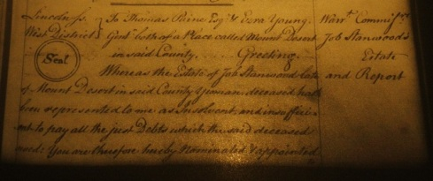Probate of Job Stanwood, 1788