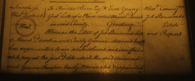 Probate of Job Stanwood, 1788