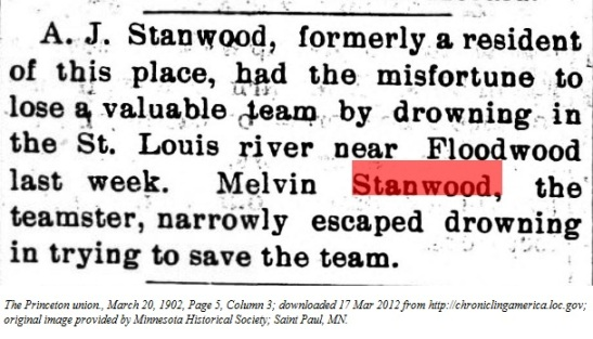 Melvin Stanwood nearly drowns
