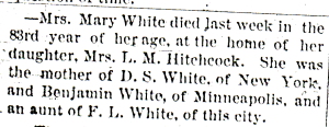 Obituary of Mary (Scott) White, Northfield News, 14 Jan 1893.