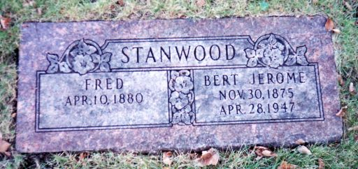 Gravestone for Fred Stanwood and brother Bert Jerome