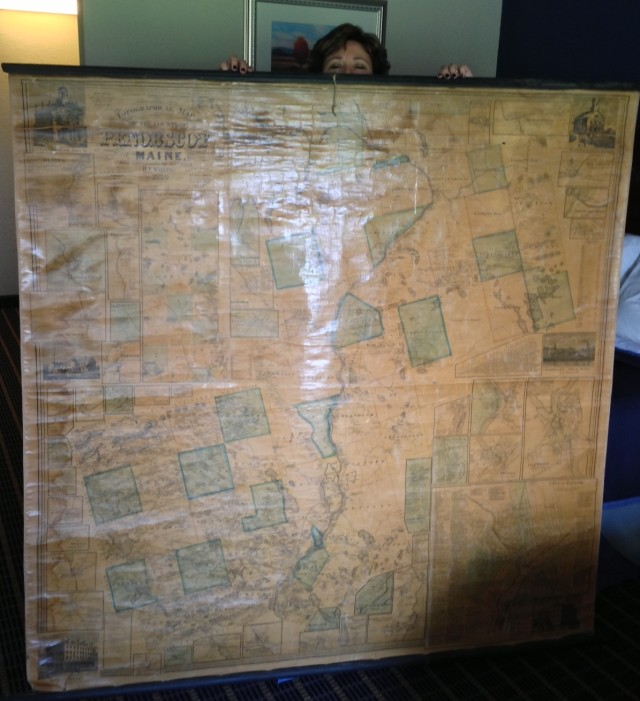 An original 1859 map of Penobscot County, Maine, showing where my ancestor Benjamin Stanwood lived