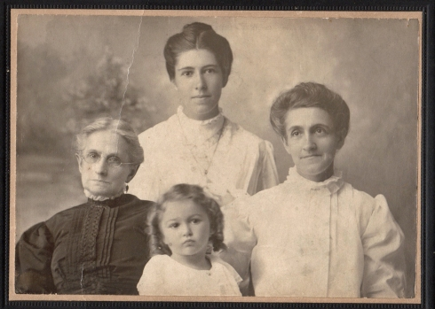 Left, Clara (Sine) Bodine, Carrie (Niece) Cooper (back), Mary (Bodine) Niece Loudenberry (right), and Dorothy (Cooper) Dundas (front)