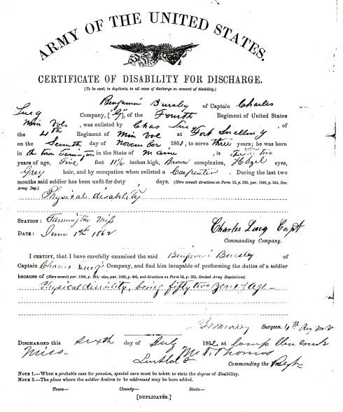 Benjamin Bursley Certificate of Disability for Discharge