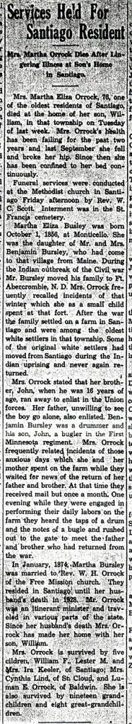 Obituary of Martha E. (Bursley) Orrock