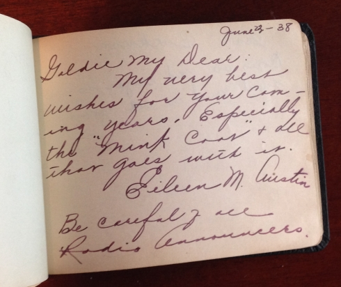 "Autograph book page admonishing Grammer to ""Be careful of all Radio Announcers"""