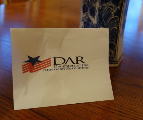Card announcing my acceptance into the D.A.R.
