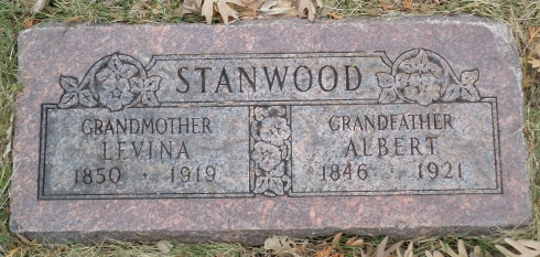 The new copy of my great-great grandparents' gravestone, taken by a kind Find-A-Grave volunteer.