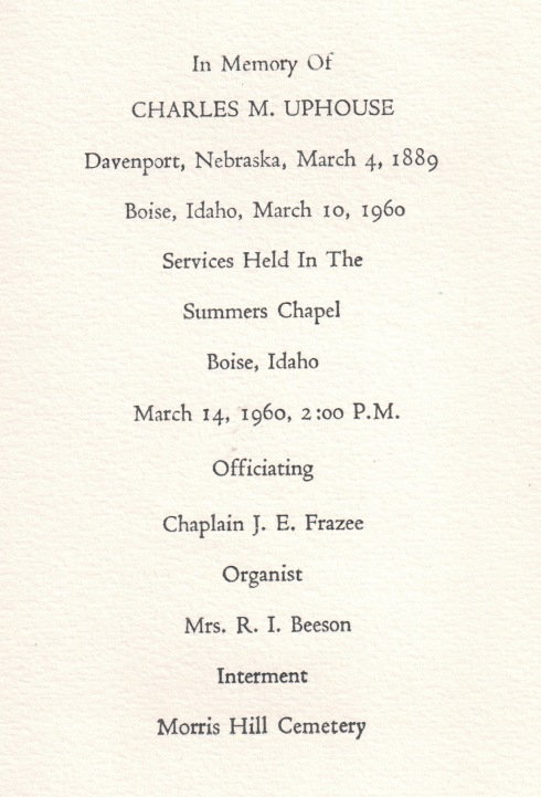 Charles M. Uphouse, funeral card