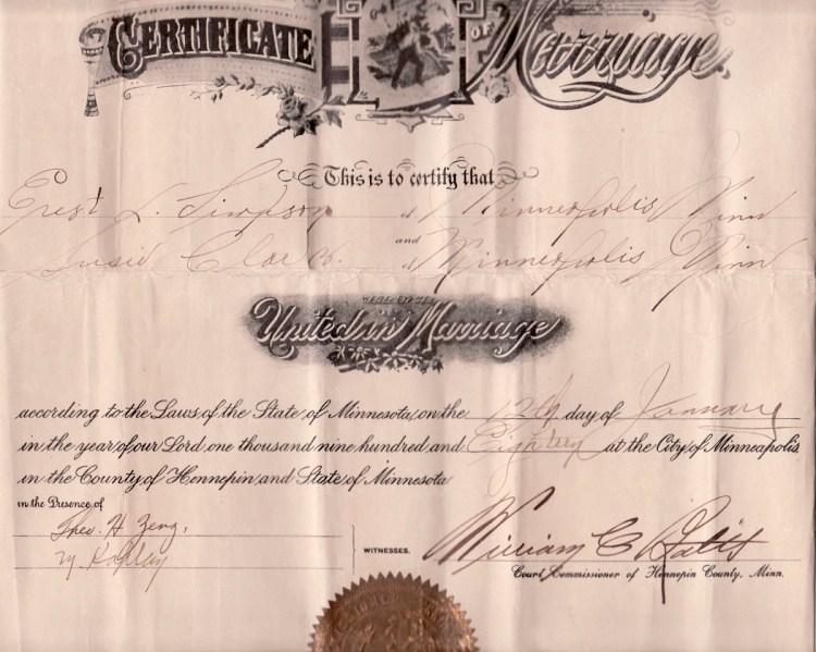 Marriage certificate for Ernest L. Simpson and Susan (Stanwood) Clark