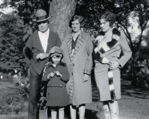 "Ernest ""Bob"" Simpson and his beloved wife Susan (Stanwood) Simpson.  Young Goldie, the couple's daughter, dates this photo to about 1927.  Also shown is Goldie's older sister Beatrice (Susan's daughter from her first marriage to Ed Clark)."