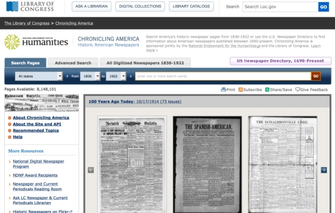Library of Congress's Chronicling America site