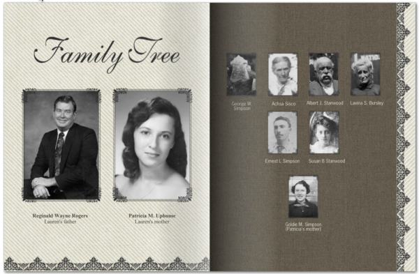 A visual family tree was also customized for each book.