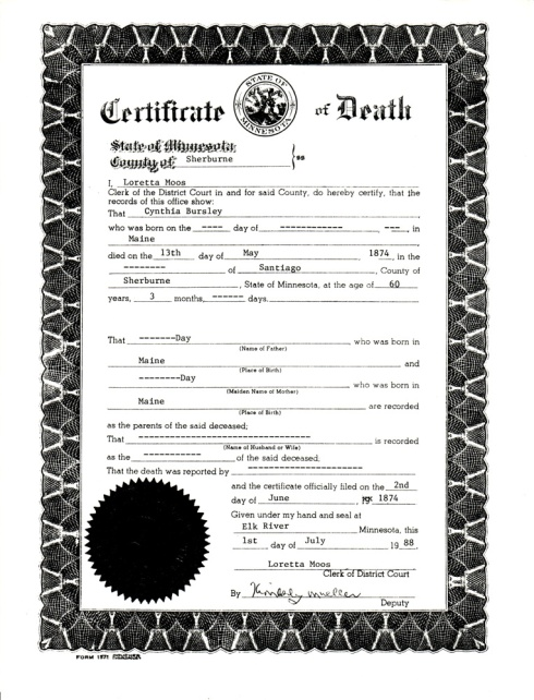 Cynthia (Day) Bursley death certificate