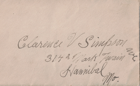 An empty envelope with Clarence's address penned in Ernest's handwriting