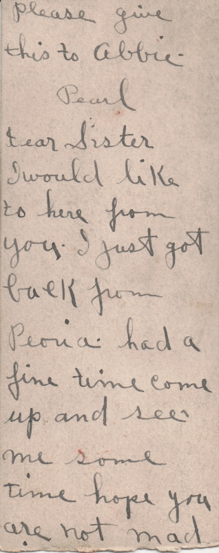 Jessie Pearl's note to her sister-in-law, Abbie (Dalton) Simpson