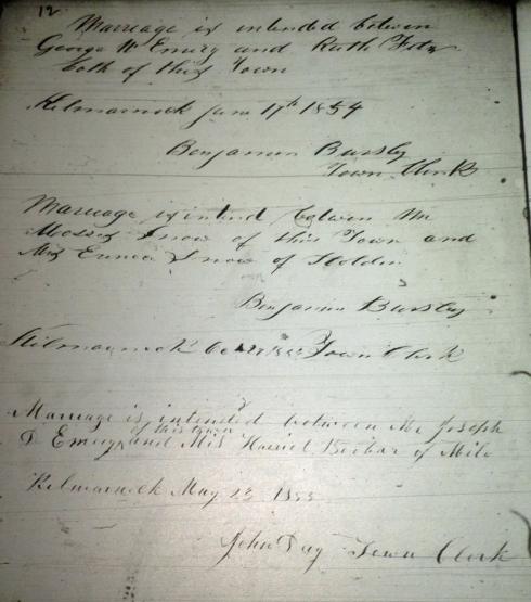 Benjamin Bursley's entries as town clerk