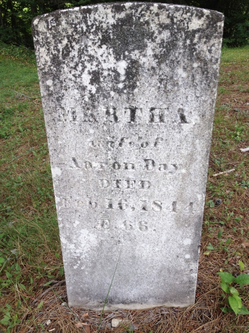 Headstone of Martha, wife of Aaron Day.  Upper Ferry Cemetery, Medford, ME.  (Photo courtesy of Sherece Lamke)