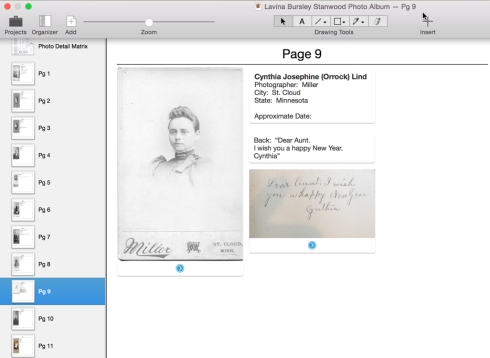 Using Curio, I created a page for each photo in my great-great grandmother Lavina's photo album.