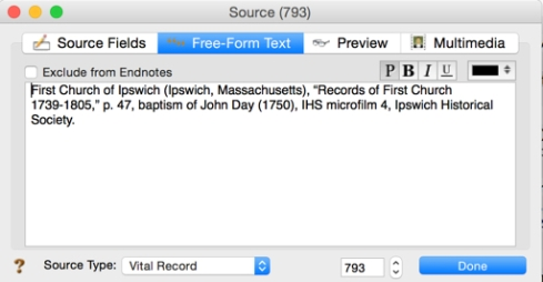 Using the free-form text field, the complete citation can be documented in its entirety