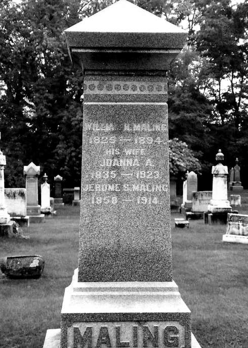 Gravestone of William and Joanna A. (White) Maling
