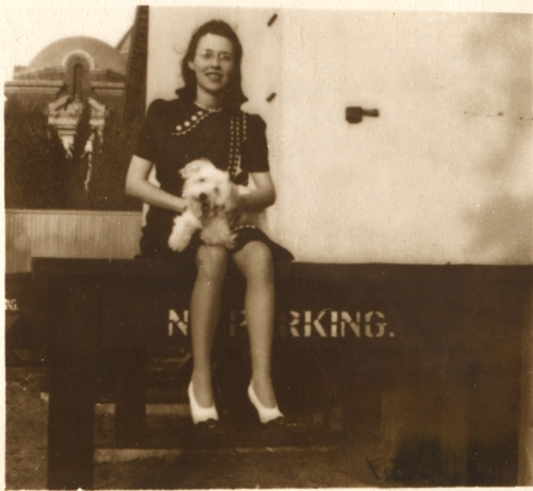 My grandmother, Goldie, about 1940, with one of her dogs.