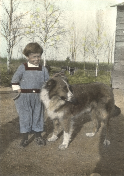 Harold Uphouse, my grandfather, about 1922/3, with his dog.