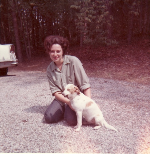 "My mom, Patricia (Uphouse) Rogers, about 1965 with ""Ginger"""