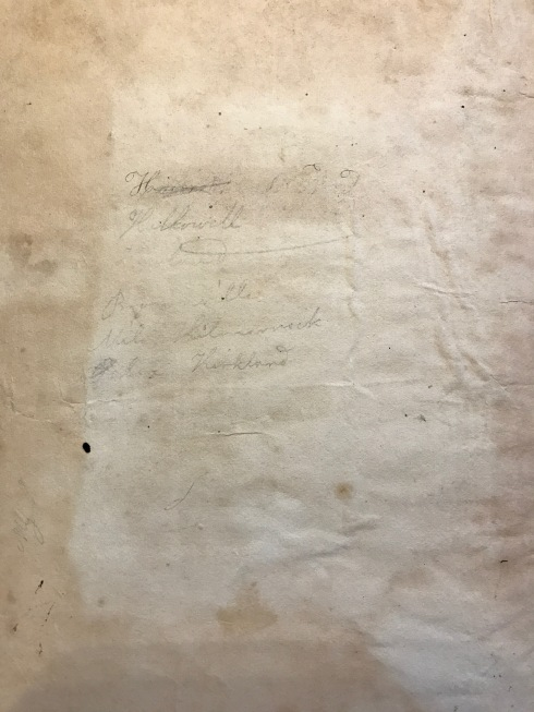 Inside the cover of Harriet's arithmetic book is written Brownville, Milo, Kilmarnock, [-?-], and Kirkland