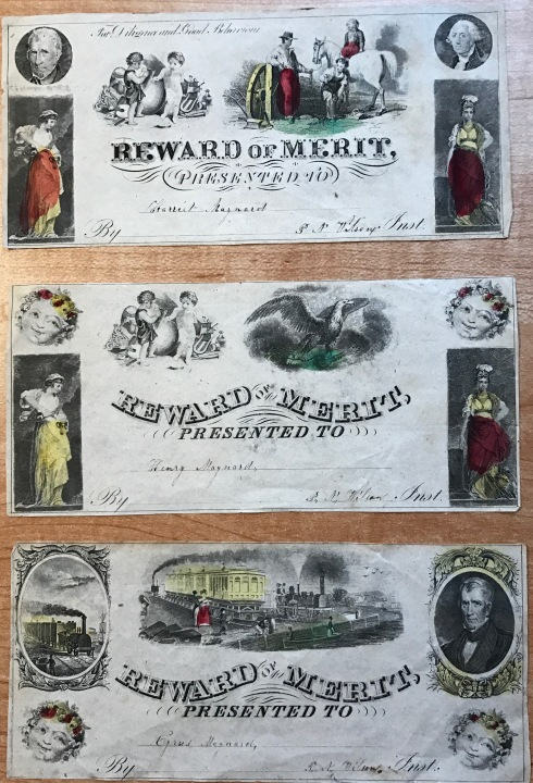 Rewards of Merit for Harriet L. Maynard and her brothers, Henry and Cyrus.